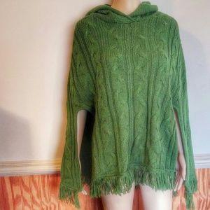 Hooded Poncho Heavy Knit Fringed Sweater Fringe